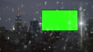 Green screen Chroma key billboard New York Silver glitter video