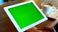Green screen Digital tablet with breakfast video