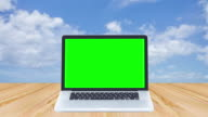 Green screen laptop computer on wood table with time lapse of clouds move background video
