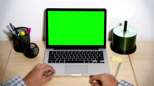 Green Screen Laptop Frustrated User video
