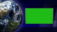 Green Screen Monitor and Earth and Technology Bars Background, Loop, 4k video