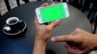 Green screen to scroll through web pages horizontally on the phone in white, Iphone, tags video