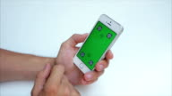 Green screen to scroll through web pages vertically on the phone in white, Iphone, tags video