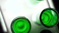 Green toxic liquid in test tubes video