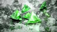 Green trillion cut diamonds falling video