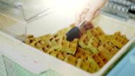 Green Waffles in a Wicker Basket video