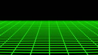 Green wireframe moving towards camera. video