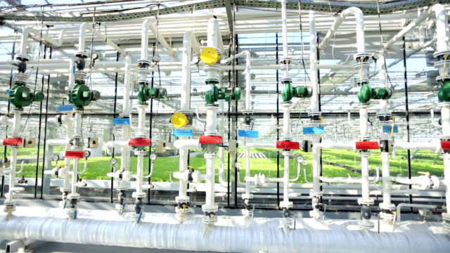 Greenhouse pipe system. Valves and Piping. video