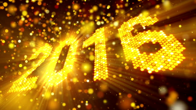 greeting new year 2016 of shining yellow elements loop video