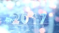 2017 greting and christmas lights seamless loop video