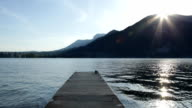 Grey ducks resting on a pier with sunflare, Annecy, French Alps, France video