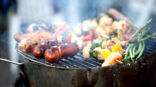 Grill series: sausages, meat and Vegetable kebab video