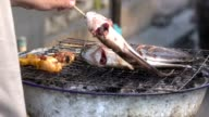 Grilled Cat fish and chicken , Thai food video