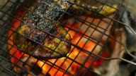 Grilled chicken on stove with fire flame video
