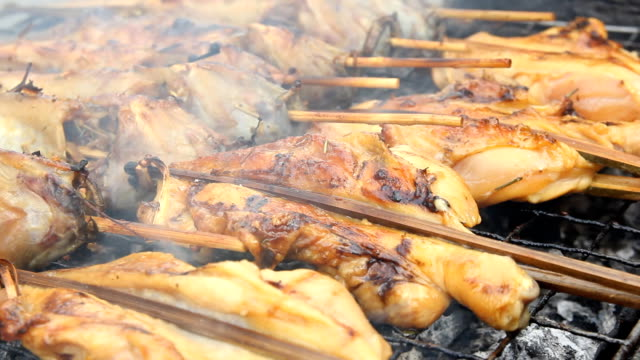 Grilled chicken skewers on charcoal grill video