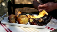 Grilled fruits on a plate video
