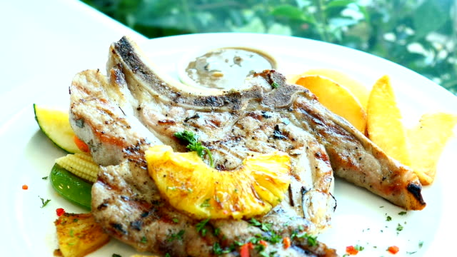 Grilled pork chop meat video
