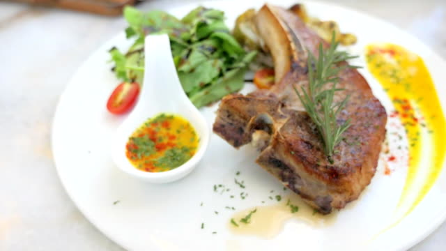 Grilled Pork Chop steak with potatoes and Organic salad, For good and Healthy meal video