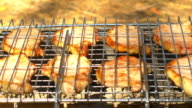 Grilled pork steaks over coals, on the brazier, side view video