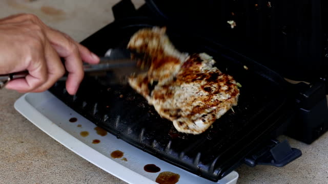 Grilled pork with barbecue electronic stove video