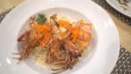 Grilled prawn pasta cream sauce video