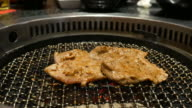 Grilled raw meat (barbeque,bbq) cooking on wagyu grill in BBQ video