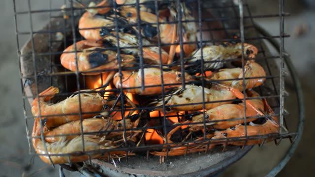 Grilled shrimp (Giant freshwater prawn) video