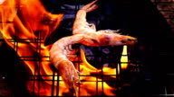 Grilled Shrimps in fire slow motion video