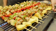 grilled skewers of meat and vegetables video