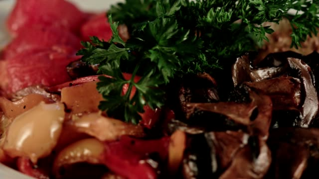 Grilled vegetables. Mushrooms and eggplants and peppers video