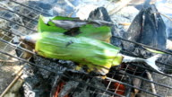 Grilling fish wrapped in banana leaves and batatas video