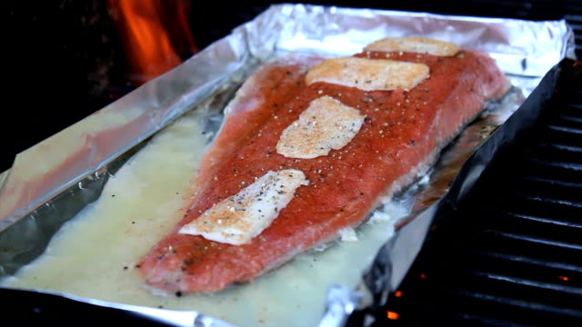 Grilling Fresh Salmon On The Barbecue video