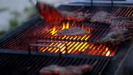 Grilling lamb meat on barbecue video