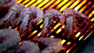 Grilling shrimps on barbecue video