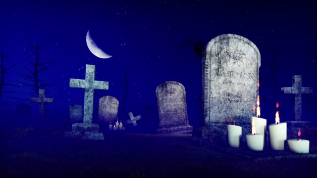 Grim reaper at spooky night cemetery video