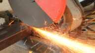 Grinder cutting the steel video