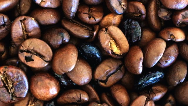 Grinding coffee beans close up HD video