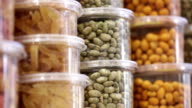 Grocery. Jars of nuts, seeds dried fruits video