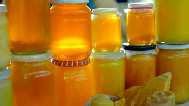 Grocery market. Honey stall video