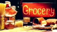 Grocery shop with wood hanging sign video