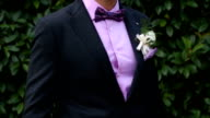 Groom with jacket bow tie and a flower video