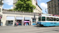 Grossmünster cathedral shift tilt pan to tramway, Zurich video
