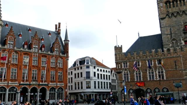 Grote Markt, Bruges, Belgium. Unesco world heritance video