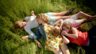 Group Of 4 Girls Relax In A Field, They Whisper Secrets To Each Other (Birds Eye View) video