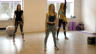 Group of beautiful girls do aerobics. Fitness. Attractive girl actively train your body. video