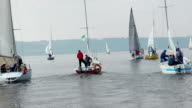 Group of beautiful yachts sailing on sea, outdoor activities video