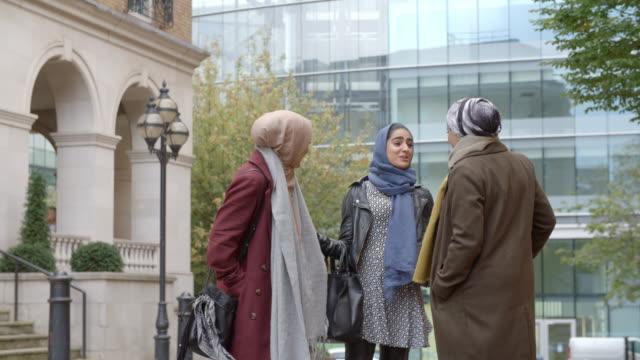 Group Of British Muslim Businesswomen Outside Office video