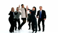 Group of businesspeople celebrate and jump, slow motion video