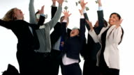 Group of businesspeople celebrate and throw money, white background video