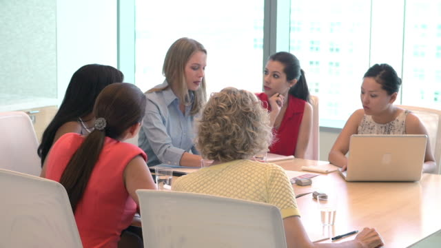 Group Of Businesswomen Meeting Around Desk In Office video